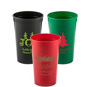 Personalized Christmas Plastic Stadium Cups 22oz