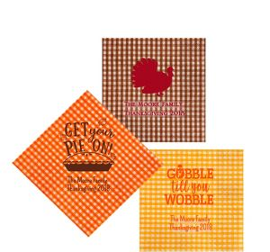 Personalized Thanksgiving Gingham Beverage Napkins