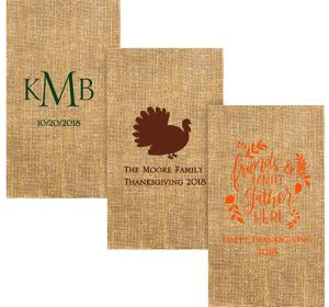 Personalized Thanksgiving Burlap Print Guest Towels