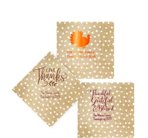Personalized Thanksgiving Small Dots Beverage Napkins