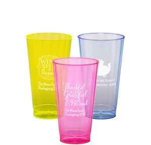Personalized Thanksgiving Neon Hard Plastic Cups 16oz