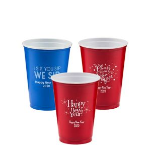 Personalized New Year's Solid-Color Plastic Party Cups 10oz