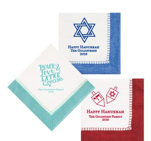 Personalized Hanukkah Bordered Lunch Napkins