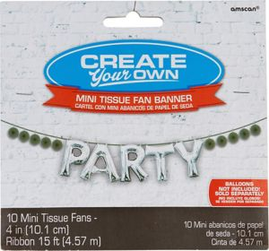 Mini Create Your Own Silver Paper Fan Banner