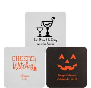 Personalized Halloween 40pt Square Coasters