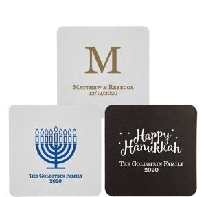 Personalized Hannukah 40pt Square Coasters