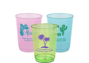 Personalized Luau Hard Plastic Color Cups 10oz