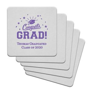 Personalized Graduation 40pt Square Coasters