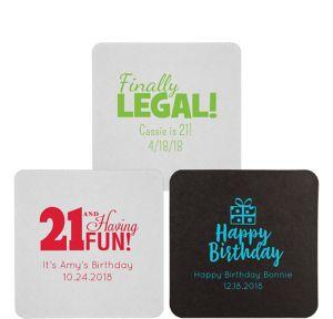 Personalized Milestone Birthday 40pt Square Coasters