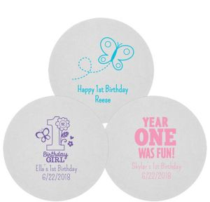 Personalized 1st Birthday 80pt Round Coasters