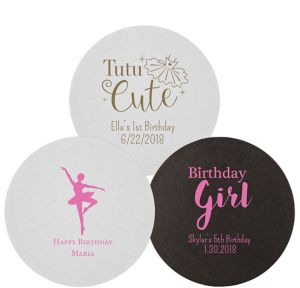 Personalized Girls Birthday 40pt Round Coasters