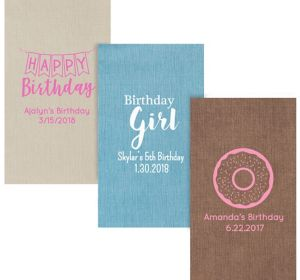 Personalized Girls Birthday Bella Guest Towels