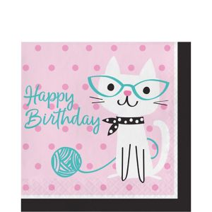 Purrfect Cat Birthday Lunch Napkins 16ct