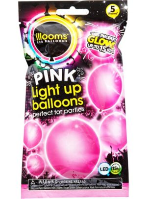 Illooms Light-Up Pink LED Balloons 5ct