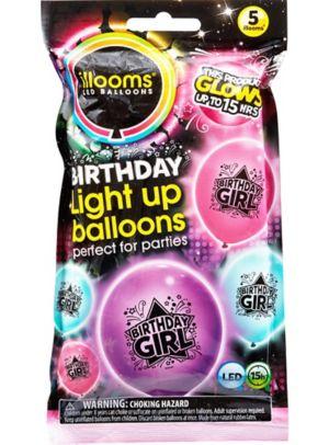 Illooms Light-Up Birthday Girl LED Balloons 5ct