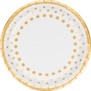 Metallic Gold Dots Dinner Plates 8ct