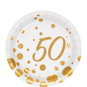 Metallic Gold Dots 50th Anniversary Dessert Plates 8ct