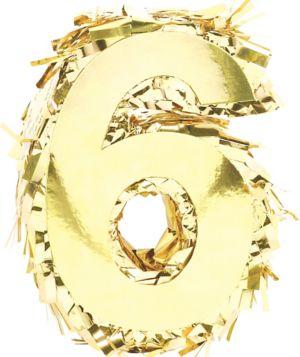 Metallic Gold Number 6 Pinata Decoration