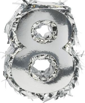 Metallic Silver Number 8 Pinata Decoration