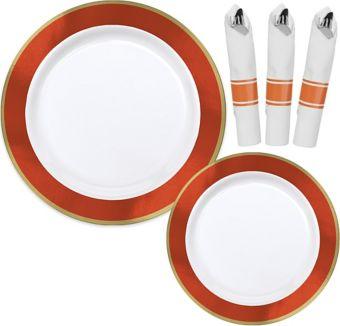 Premium Gold & Orange Border Tableware Kit for 20 Guests