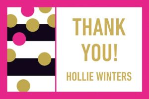 Custom Pink & Gold Confetti Thank You Notes