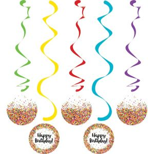 Rainbow Sprinkles Happy Birthday Swirl Decorations 5ct