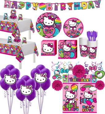 Rainbow Hello Kitty Tableware Ultimate Kit for 16 Guests