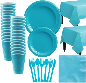 Caribbean Blue Plastic Tableware Kit for 50 Guests
