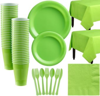 Kiwi Green Plastic Tableware Kit for 50 Guests