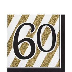 White & Gold Striped 60 Lunch Napkins 16ct