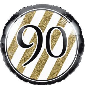 White & Gold Striped 90 Balloon