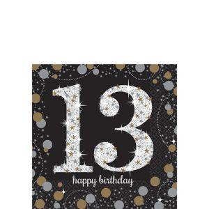 13th Birthday Beverage Napkins 16ct - Sparkling Celebration