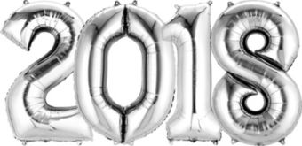 Giant Silver 2018 Number Balloon Kit