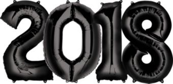 Giant Black 2018 Number Balloon Kit