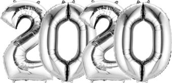 Giant Silver 2020 Number Balloon Kit