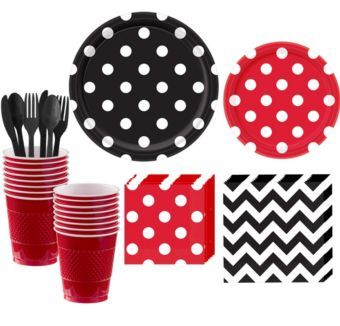 Red and Black Polka Dot & Chevron Paper Tableware Kit for 16 Guests