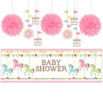Pink Carousel Baby Shower Decorating Kit