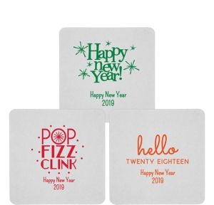 Personalized New Year's 80pt Square Coasters