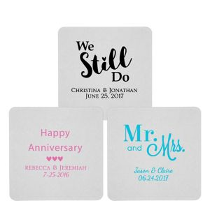 Personalized Wedding 80pt Square Coasters