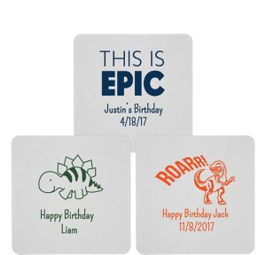 Personalized Boys Birthday 80pt Square Coasters