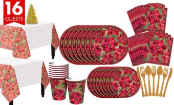 Holiday Poinsettia Tableware Kit for 16 Guests