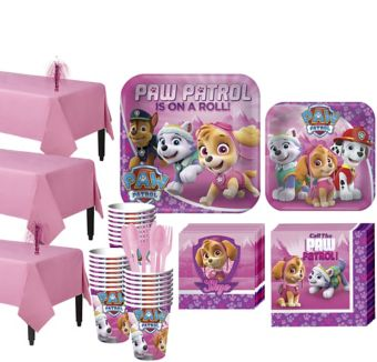 Pink PAW Patrol  Tableware Party Kit for 24 Guests