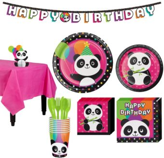 Panda Party Tableware Party Kit for 8 Guests