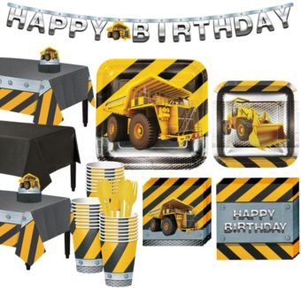 Construction Zone Tableware Party Kit for 24 Guests
