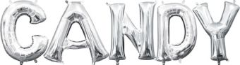 Air-Filled Silver Candy Letter Balloon Kit