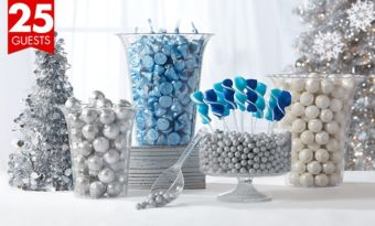 Icy Winter Wonderland Candy Kit with Containers for 25 Guests