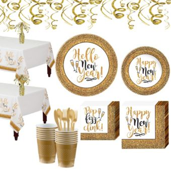 Gold Glitter New Year's Tableware Kit for 36 Guests