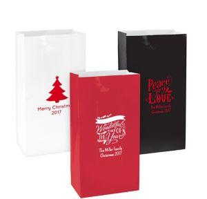 Personalized Medium Christmas Paper Treat Bags