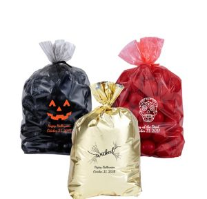 Personalized Small Halloween Plastic Treat Bags