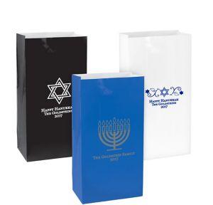 Personalized Medium Hanukkah Paper Treat Bags